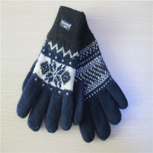 men's fleece lining Jacquard Knitted Gloves