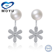 fashion jewellery double sided pearl with flower zircon earring