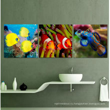 3 панели Пользовательские яркие картины Живопись рыбы