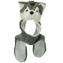 Wolf animal hat with attached scarf and mittens