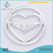 Fahion 22mm Design Silber Engel Flügel Schmuck liefert schwimmenden Medaillons Platten