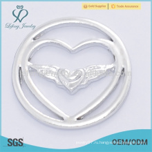 Fahion 22мм дизайн серебряный ангел крыло ювелирные изделия поставки плавающие медальоны пластин
