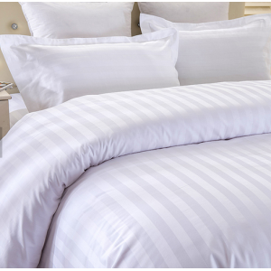 Flat Striped White Hotel Flat Sheet