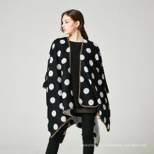 Venda quente tendência de moda padrão de ponto jacquard tecer mulheres poncho capa xaile