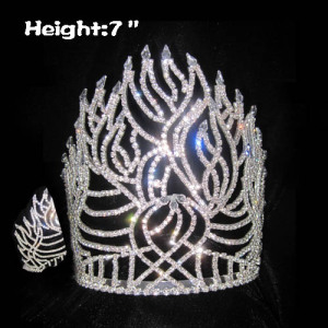 All Clear Crystal Fire Shaped Pageant Crowns