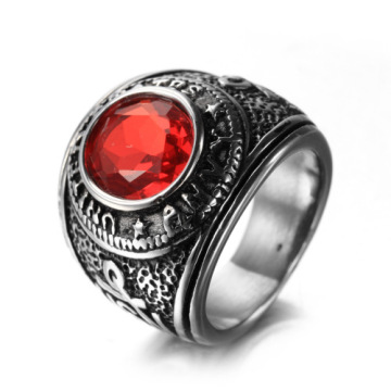 Titanium Steel Vintage Vintage Men Ruby Finger Ring