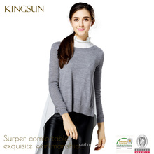 Women 100%merino wool knitted round neck pullover sweater with long side slit