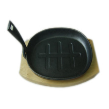 Cast Iron Fajita Skillet with Wooden Plate