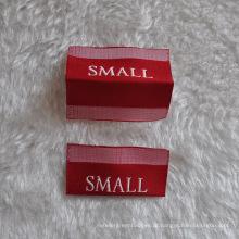 Etiqueta de tamanho dobrável de fonte branca para vestuário