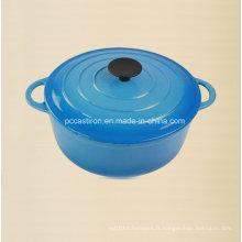 Cuisinière en fonte émaillée ronde avec pan de bakélite Dia 18cm