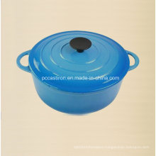 Round Enamel Cast Iron Cookware with Bakelite Knob Dia 18cm