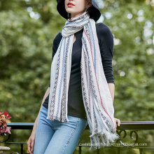 Women′s Diamond Printing Long Knitted Shawl Scarf (SP283)