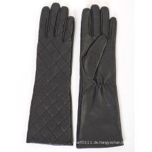 Lady Fashion überprüft Schaffell Leder langes Kleid warme Handschuhe (YKY5172)