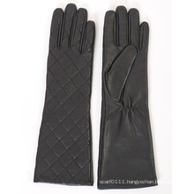 Lady Fashion Checked Sheepskin Leather Long Dress Warm Gloves (YKY5172)