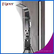 Panneau multifonctionnel noir de douche d'acier inoxydable de précipitations de massage de Fyeer