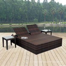 Black Rattan Box Shape Garden Wicker Aluminum Outdoor Sun Lounge Set