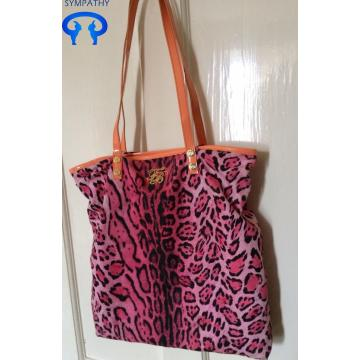 Borsa shopper in tela stampa leopardo rosa