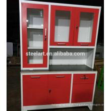 Corps en métal MDF facile à nettoyer les armoires de cuisine en métal rouge