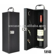 Nova caixa de vinho de couro de luxo chegada para frasco único atacado