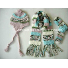 Warm Knit Ear Flap Hat Scarf Glove Sets
