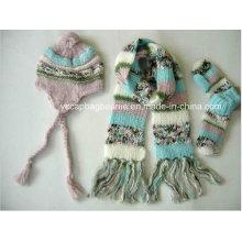 Warm Knit Ear Flap chapéu luva cachecol conjuntos