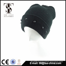 Winter acrylic beanie hat attached with jewelry young fashion design hat