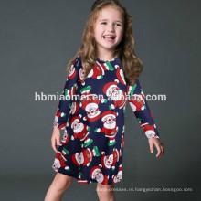 Семья одежда наборы o-образным вырезом платье Рождество одежда Модный цветок печатных родитель-ребенок одежда