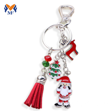 Keychain da borla do metal e do couro da venda por atacado do Natal