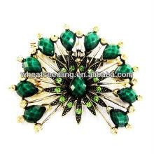 2014 moda flor design verde acrílico broche BR01