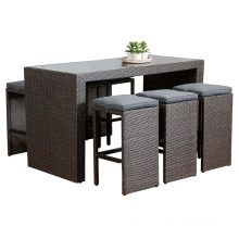 Garden Wicker Patio Rattan Bar Set Outdoor Furniture