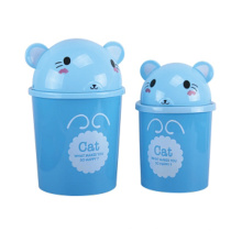 Blue Cat Pattern Flip-on Plastic Garbage Bin (A11-5801)