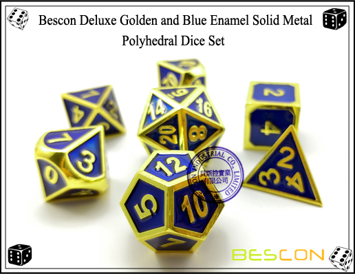 Bescon Deluxe Golden and Blue Enamel Solid Metal Polyhedral Role Playing RPG Game Dice Set (7 Die in Pack)-3