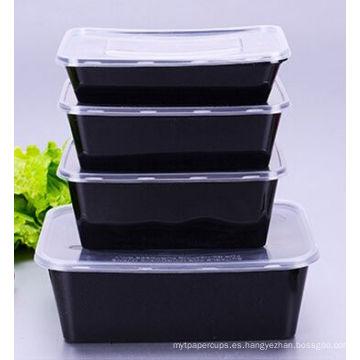 Recipiente para alimentos desechable en PP para microondas con base negra 650ml