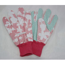 Adult Floral Printing Garden Glove, PVC DOT Gardening Glove