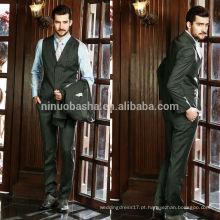 Stripe Men's 2014 Fashion Design Ternos Men Coat Pant Designs Ternos de negócios Trajes de três peças Smoking para casamento NB0567