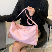 Wholesale foldable pink solid color waterproof Oxford cloth large capacity travel bag mom's bag Beach Bag