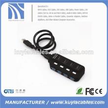 Super haute vitesse USB 3.0 4ports Hub Splitter 4 ports avec commutateur pour ordinateur portable