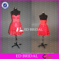 ED Bridal Sweetheart Satin and Tulle A Line Short Skirt Red Bridesmaid Dress Lace Patterns