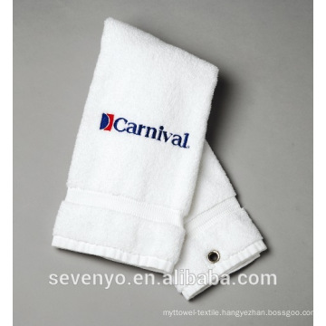 100% cotton white golf towel GYM sport towel customized logo ST-014