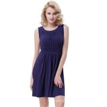 Belle Poque vintage retro color sólido sin mangas Cuello A-línea de una pieza azul marino vestido de algodón BP000289-3
