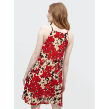 Summer ladies red print suspender dress