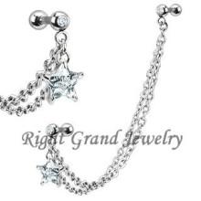 Zircon clair étoiles corps bijoux oreille chaîne Piercings