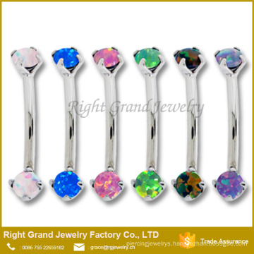 316L Surgical Steel Prong Set Opal Internally Threaded Eyebrow Ring