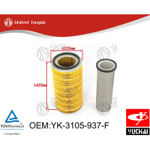 YK-3105-937-F Original Yuchai engine air filter for Chinese truck