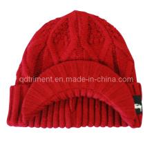Acrílico enrollar hasta ganchillo hecho punto bordeado cabbie beanie sombrero (trk039)