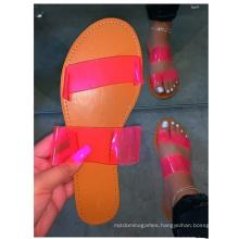 Wholesale Street Glass Glue Candy Color Ladies Summer Slide Sandals Women Shoes Flats Slide Sandals Casual