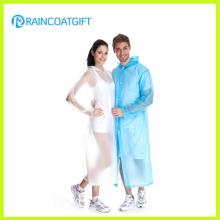 Unisex Transparente lange PVC Regenmantel Rvc-017