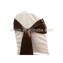 marco de la silla del satén moda Fantasia, marrón chocolate corbata, corbata de lazo, nudo, cubiertas de la silla de la boda y fajas