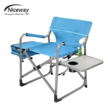 Modern Portable Metal Steel Camping Sun Lounge With Cup Table Side Cooler Bag Folding Chair