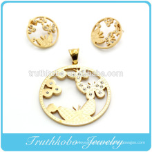 2014 most popular high quality gold stainless steel laser cut gold round animal butterfly shape earring and pendant jewelry set